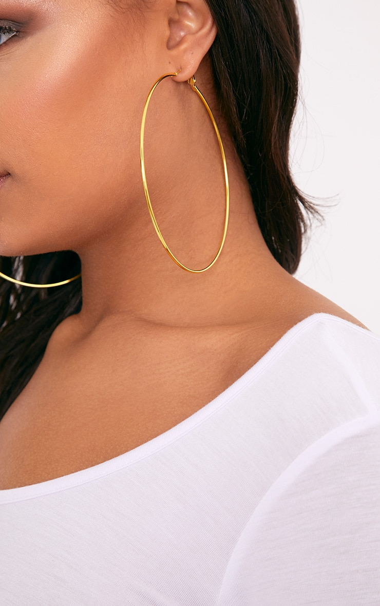 Gold Large Hoop Earrings 1