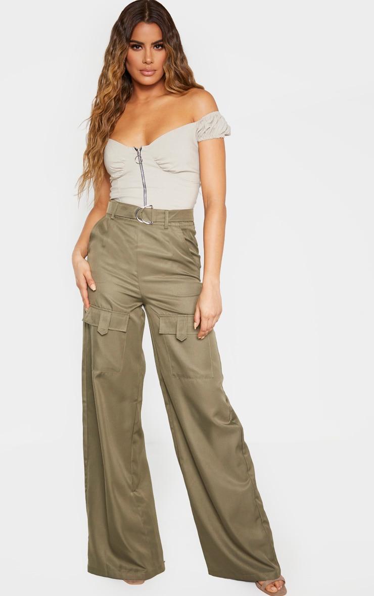 Tall Khaki Belted Cargo Wide Leg Pants  1