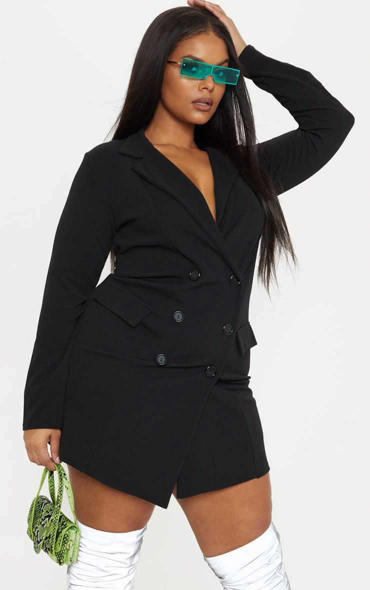 Plus Black Button Detail Blazer Dress 1