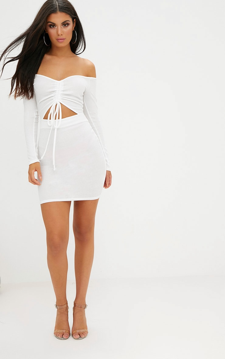White Ribbed Ruched Plunge Bodycon Dress 4