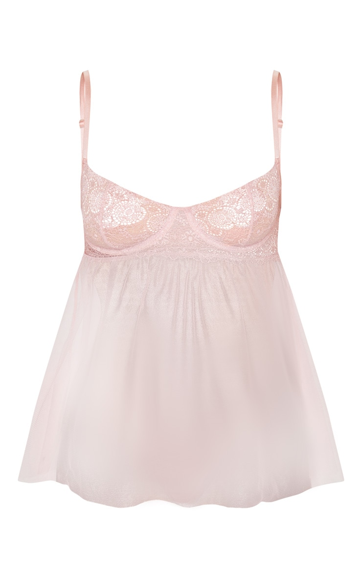 Blush Delicate Lace And Mesh Babydoll 5