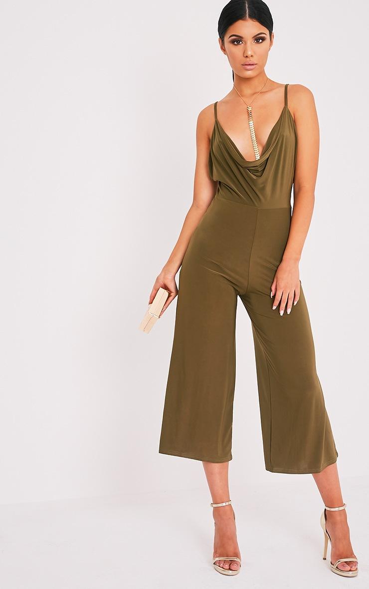 Sofia Khaki Scoop Front Cullotte Slinky Jumpsuit 1