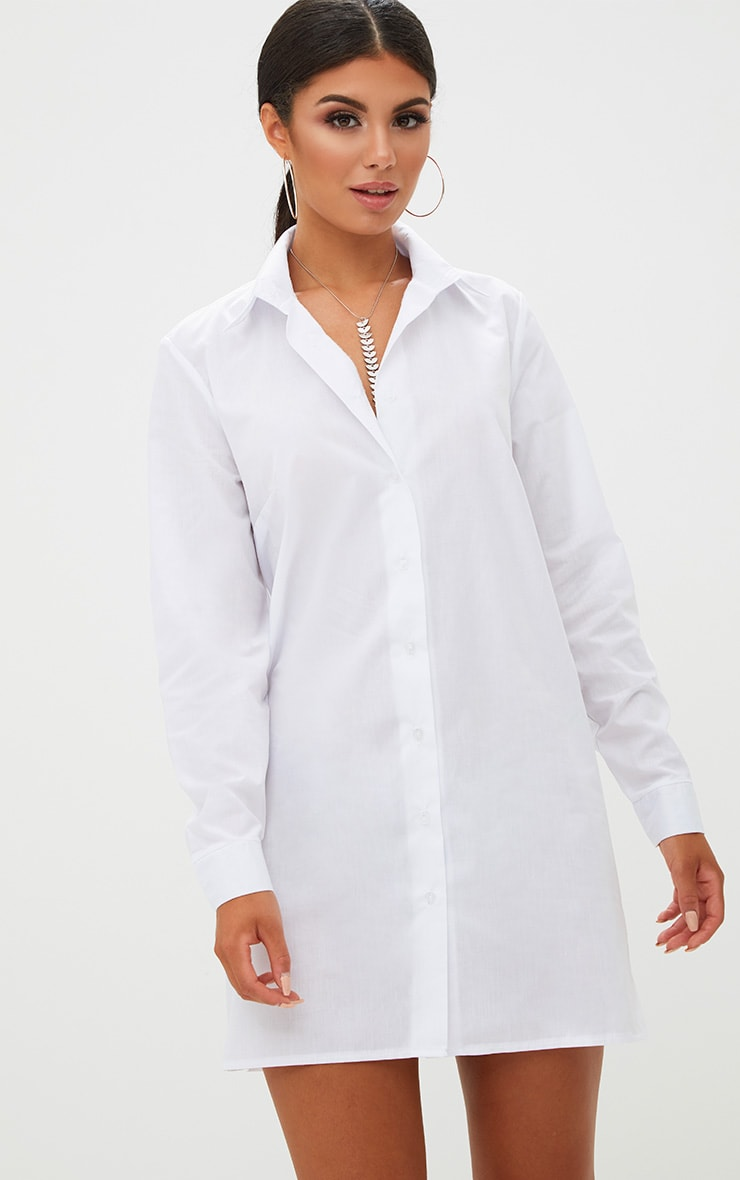 White Open Frill Back Shirt Dress 2