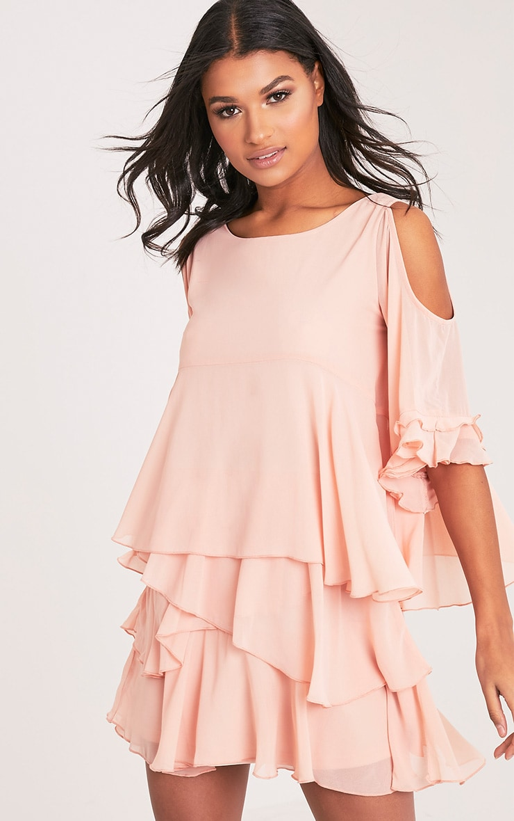 Tessa Blush Cold Shoulder Ruffle Swing Dress 1