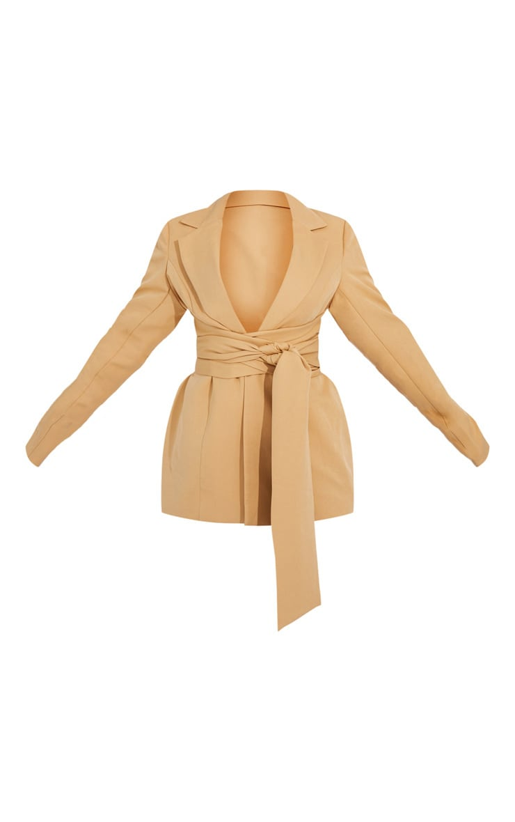 Camel Woven Wrap Around Belted Fitted Blazer 5