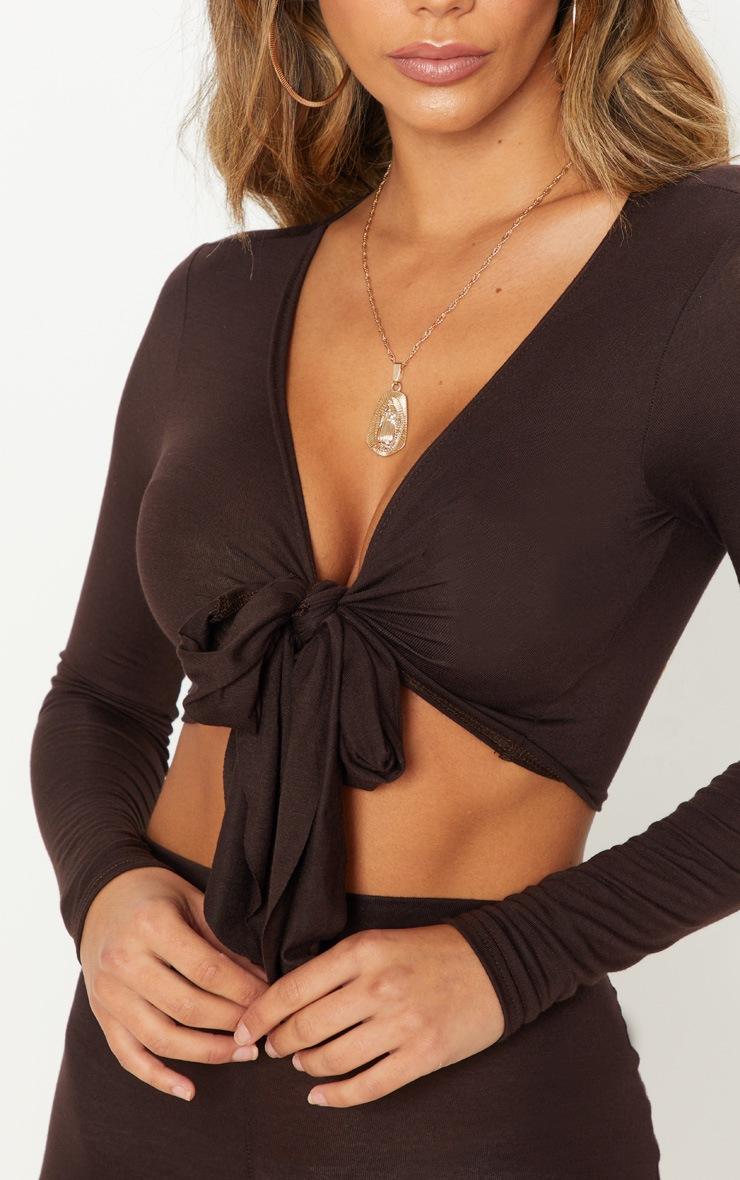 Chocolate Long Sleeve Tie Front Crop Top 5
