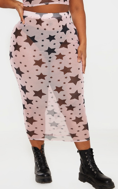 Plus Pink Star Print Mesh Midi Skirt