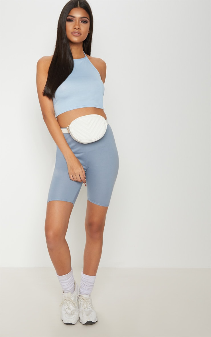 Basic Baby Blue Halterneck Crop Top 4