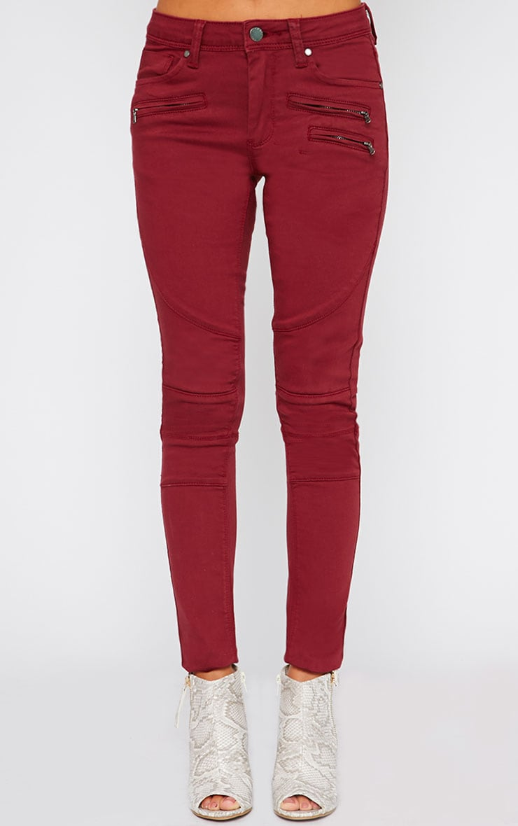 Perrine Burgundy Zip Pocket Skinny Jean  4
