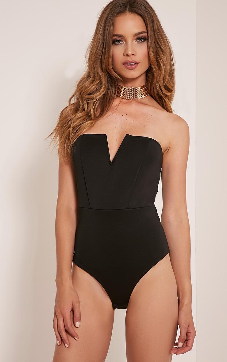 Cassandra body-string bandeau noir à devant en V 2