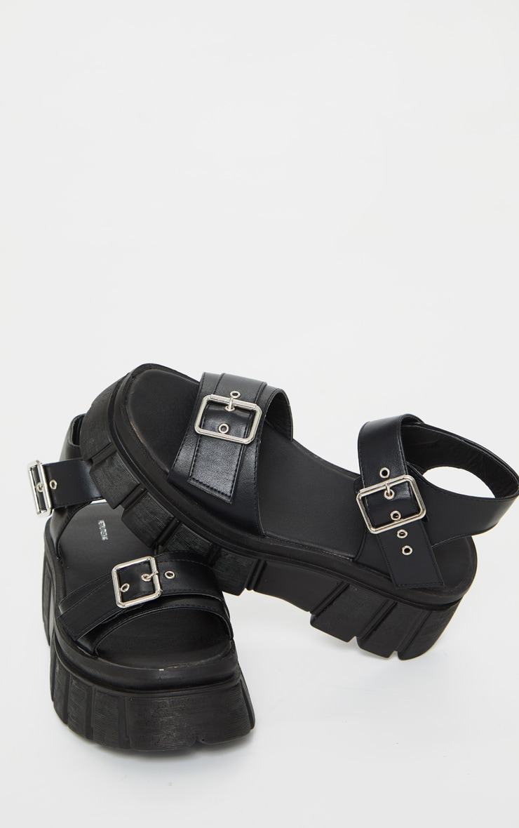 Black Chunky Sole Buckle Detail Sandal 4