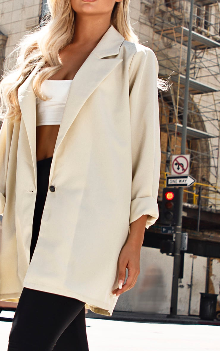 Stone Oversized Light Weight Button Detail Blazer 5