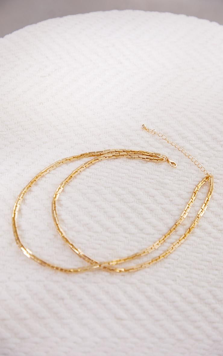 Collier doré à double chaîne et maillons carrés 4