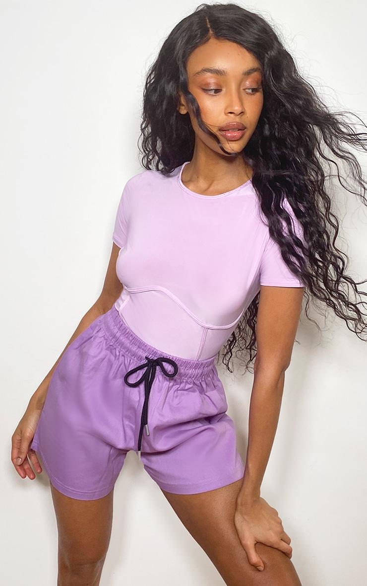 Lilac Twill Drawstring Waist Shorts 1