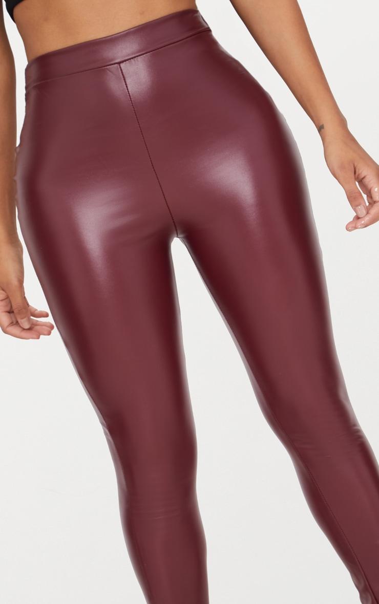 Shape Maroon Matte PU Leggings 4