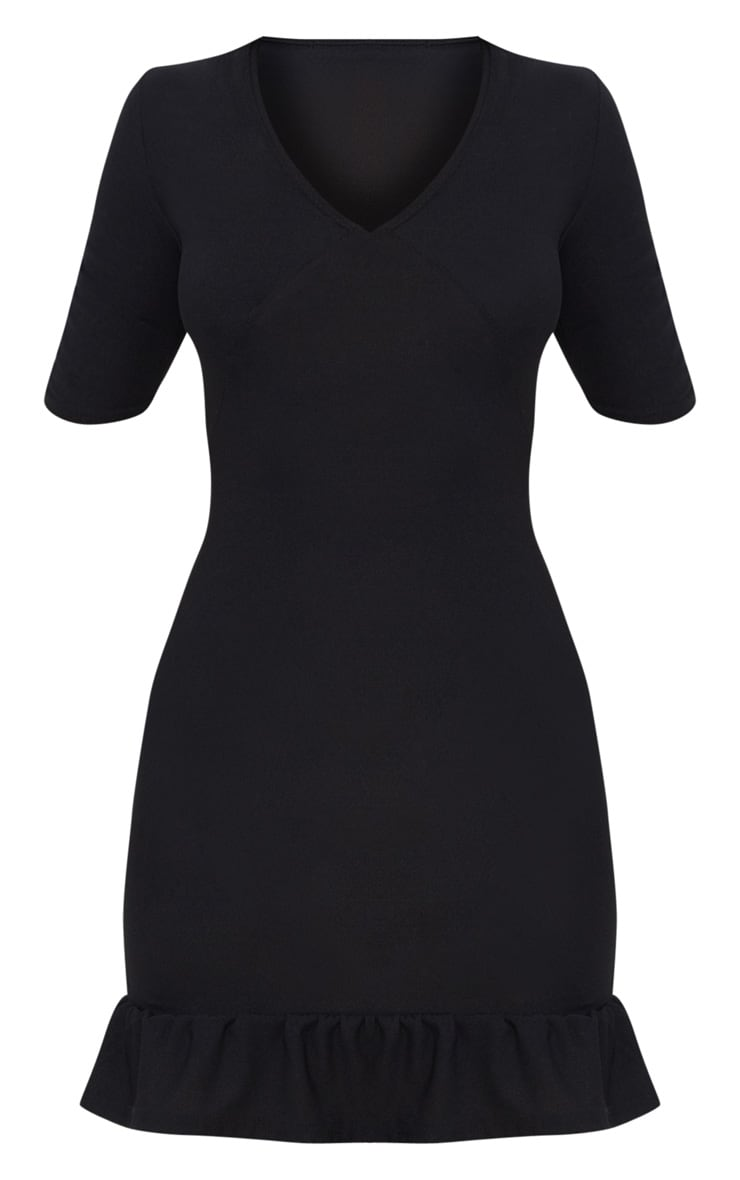 Black Plunge Frill Hem Bodycon Dress 3