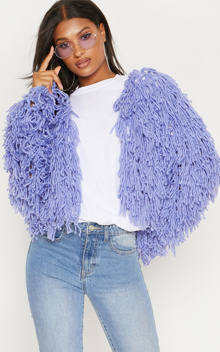 Lilac Shaggy Knit Cropped Cardigan 4