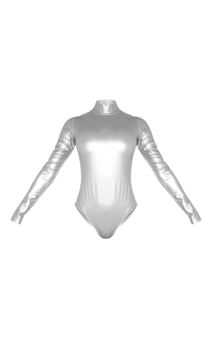 Silver Metallic High Neck Long Sleeve Bodysuit 3