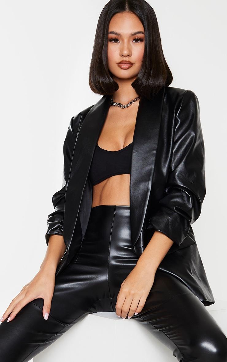 Black PU Lapel Long Line Ruched Sleeve Blazer 1
