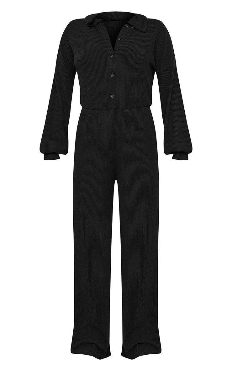 Black Brushed Rib Shirt Style Jumpsuit 5
