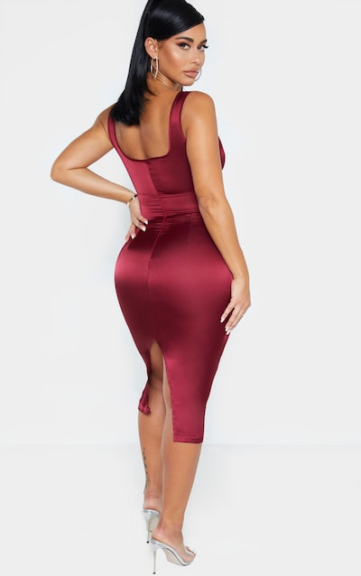 Shape Burgundy Satin Cut Out Midi Dress