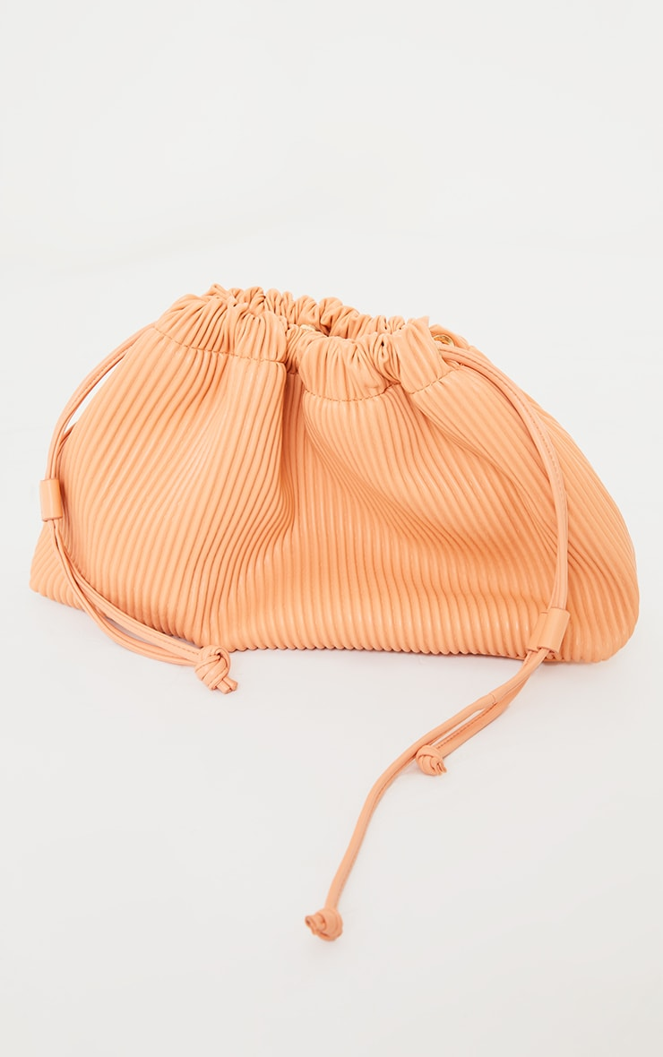 Peach Oversized Pleated Clutch Bag 2