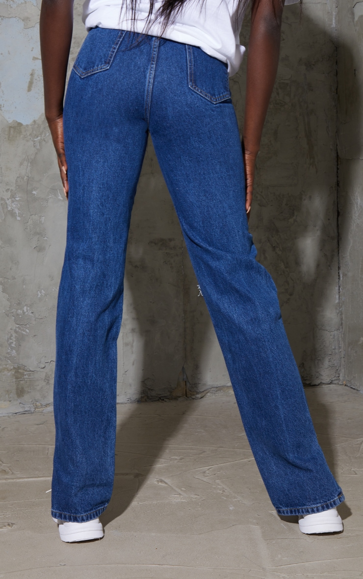 Tall Mid Wash Distressed Knee Split Hem Denim Jeans 3
