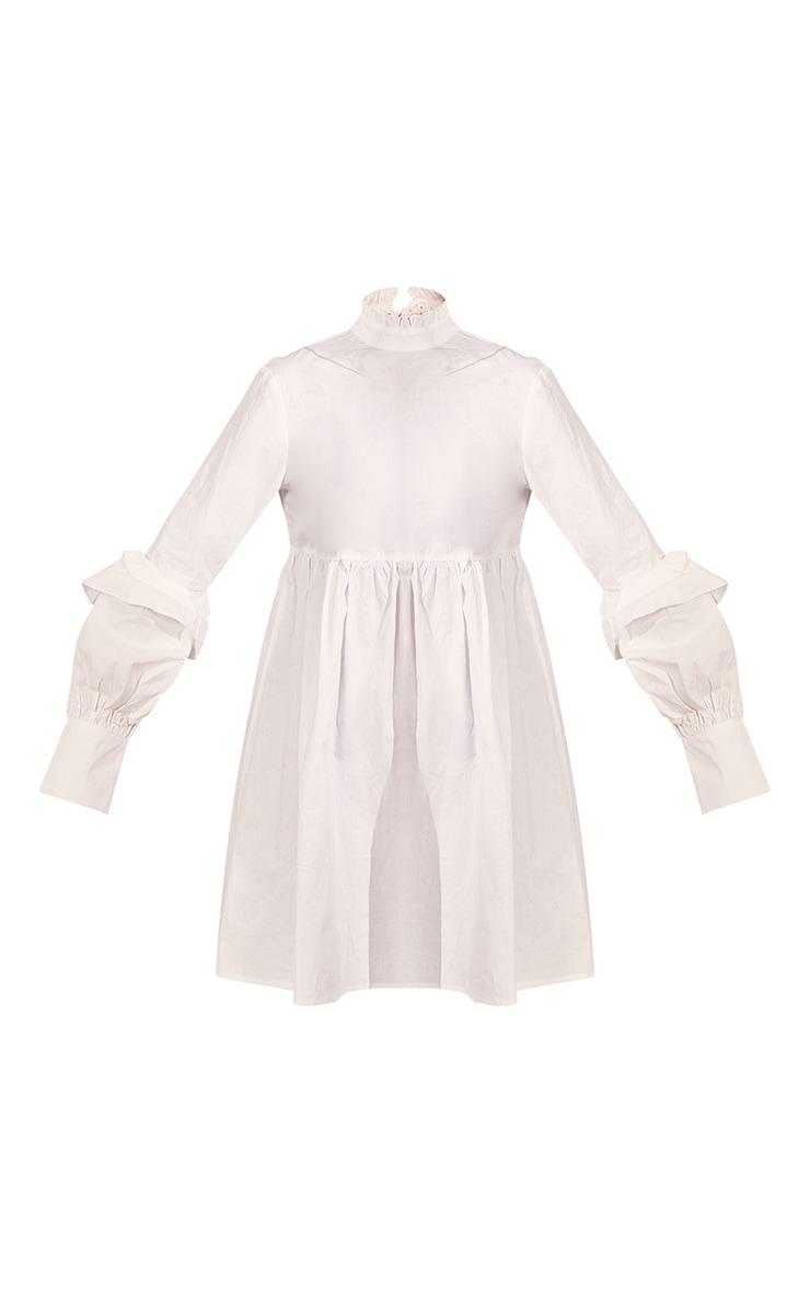 White Frill Sleeve Tie Detail Smock Dress 5