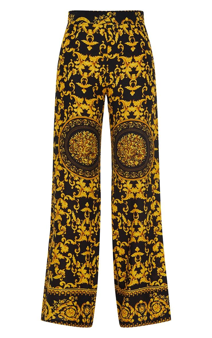 Black Woven Scarf Print Pants 3