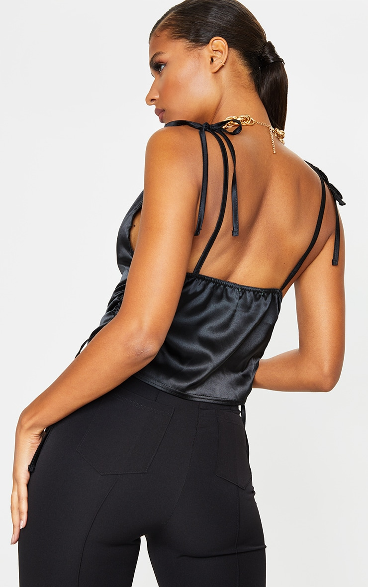 Black Satin Ruched Side Seam Cami Top 2