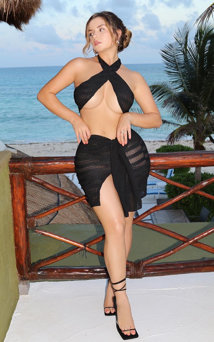 Shape Black Textured Knot Detail Bodycon Skirt 1
