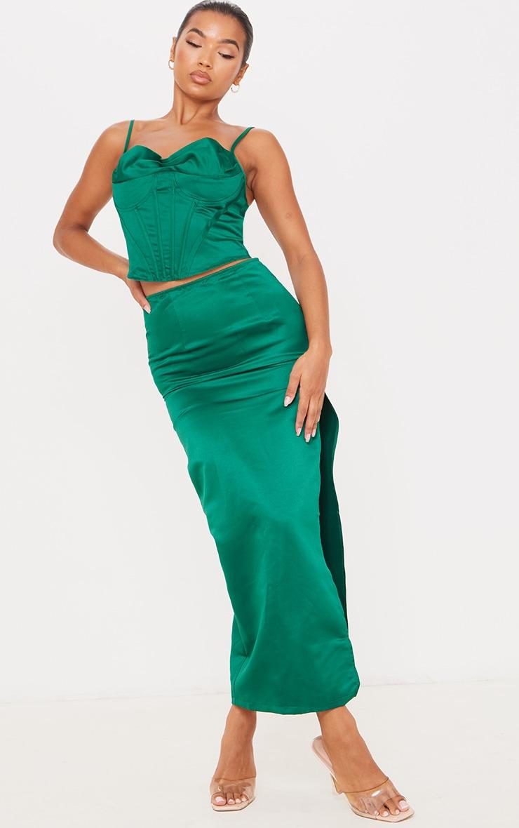 Emerald Green Satin Corset Strappy Top 3