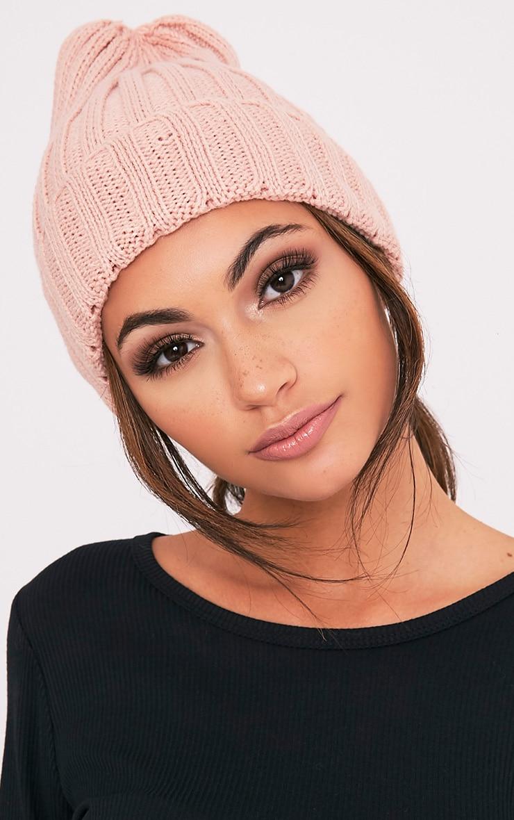 Hetra Blush Ribbed Beanie Hat 2