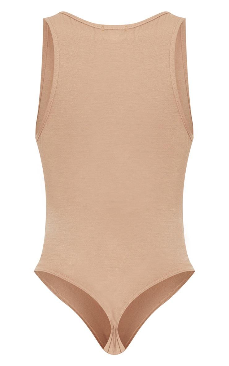 Basic Nude Jersey Plunge Neck Thong Bodysuit  4