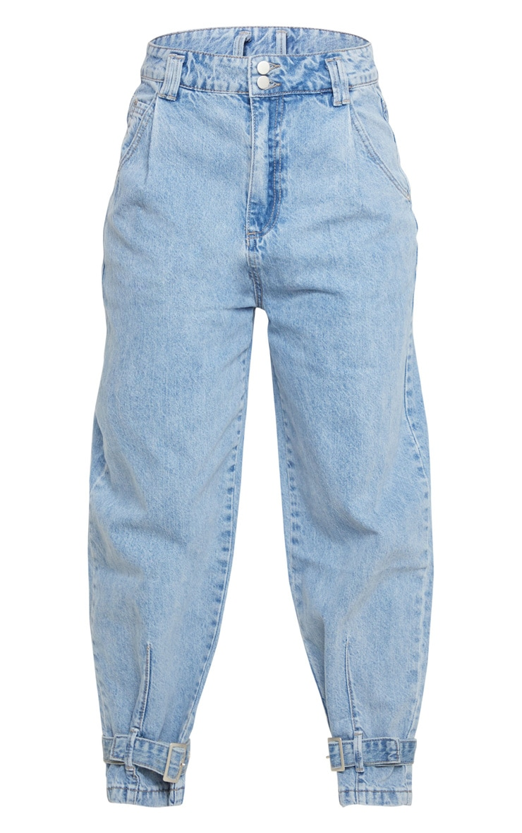 Mid Blue Wash Ankle Buckle Denim Jeans 5