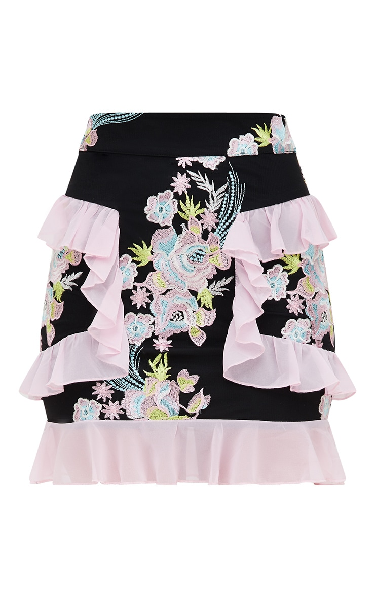 Premium Black Embroidered Ruffle Detail Mini Skirt 4