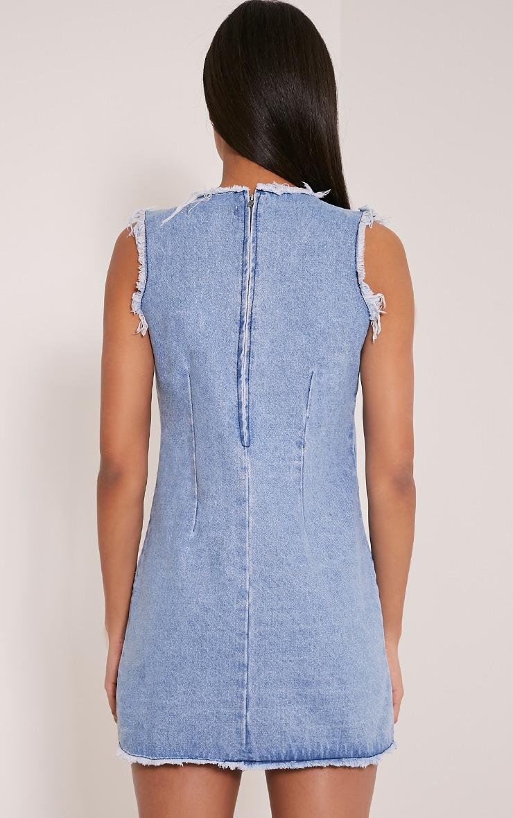 Naomie Blue Patchwork Denim Shift Dress 2