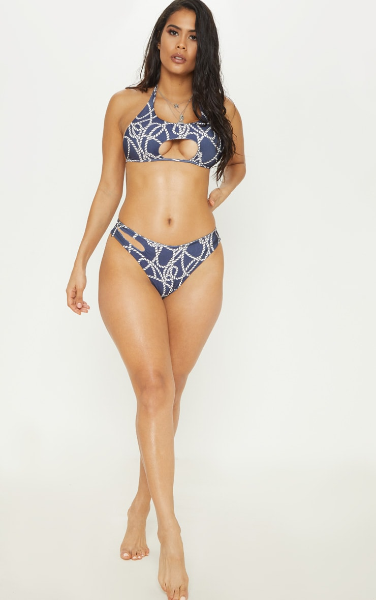 Navy Rope Print Cut Out Brazilian Bikini Bottom 5