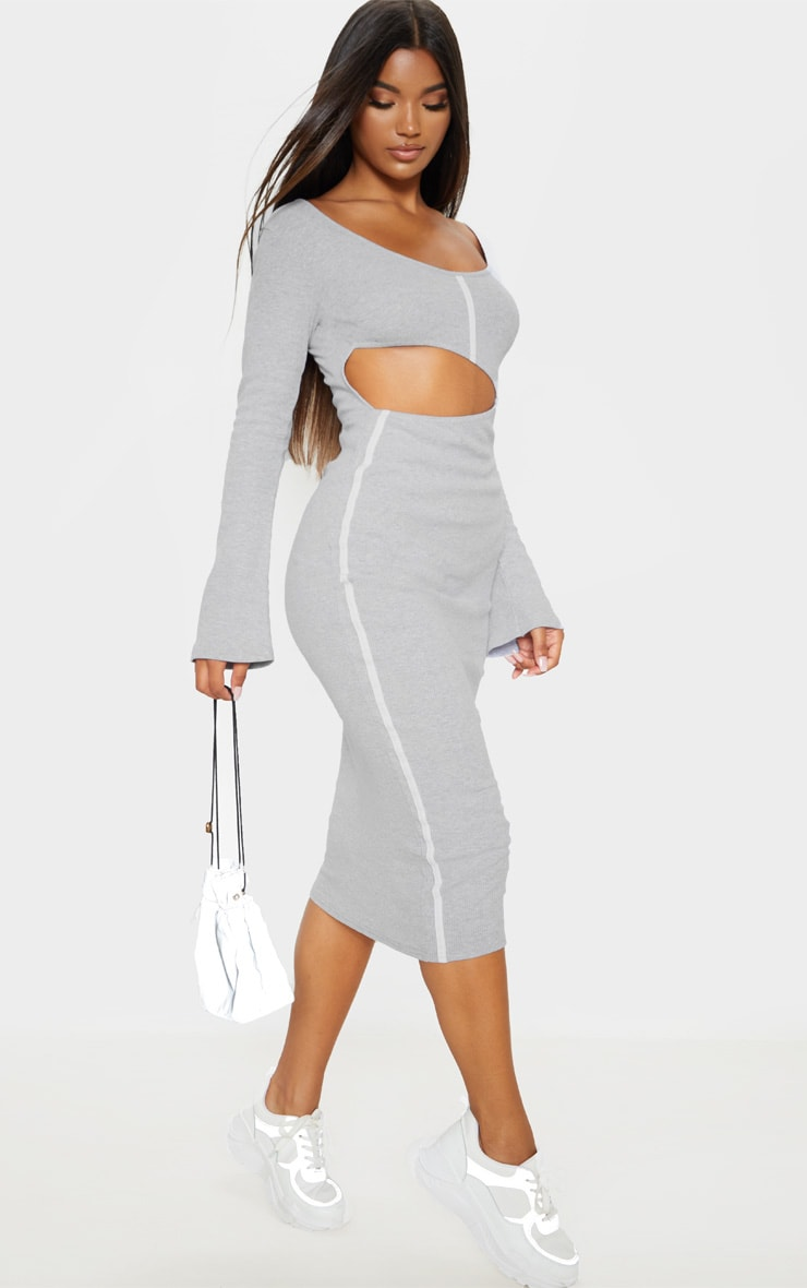 Grey Rib Contrast Trim Cut Out Long Sleeve Midi Dress 1