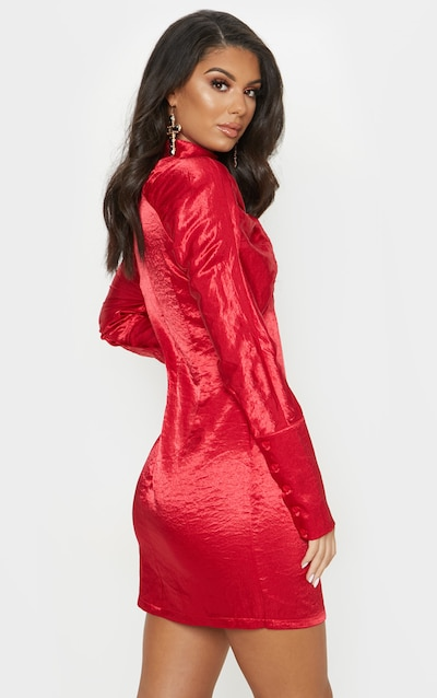 Red Satin High Neck Long Sleeve Ruched Bodycon Dress