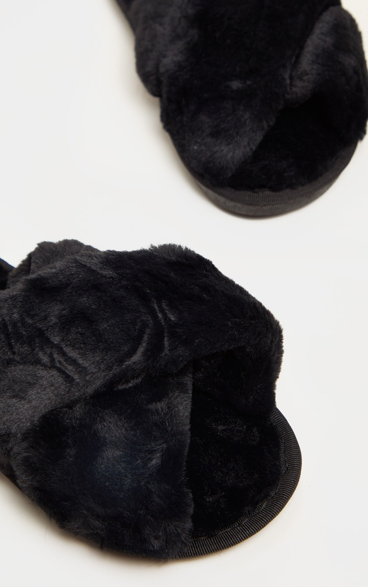 Black Fluffy Cross Strap Slippers 4
