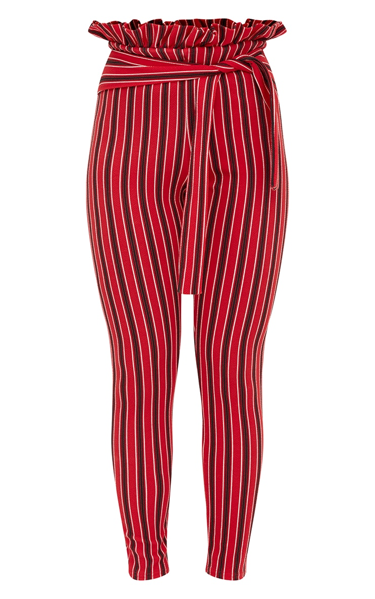 Red Stripe Paperbag Skinny Trousers 3