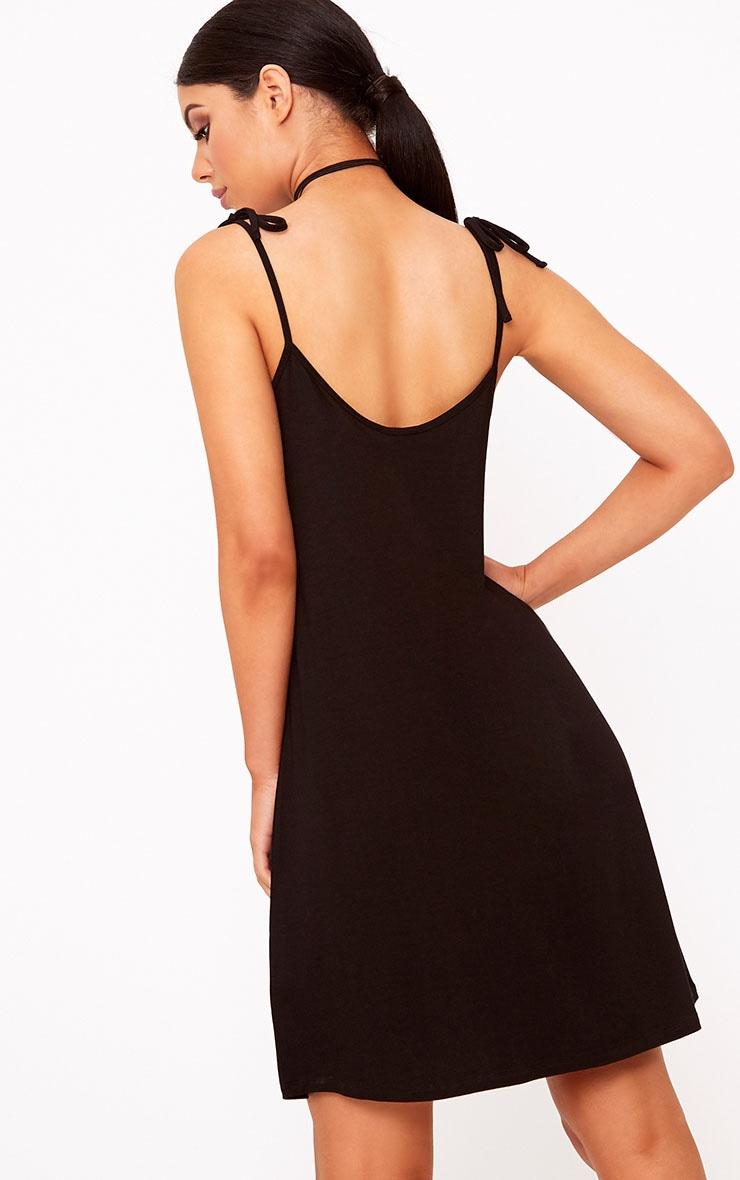 Shandra Black Jersey Tie Strap Swing Dress 2