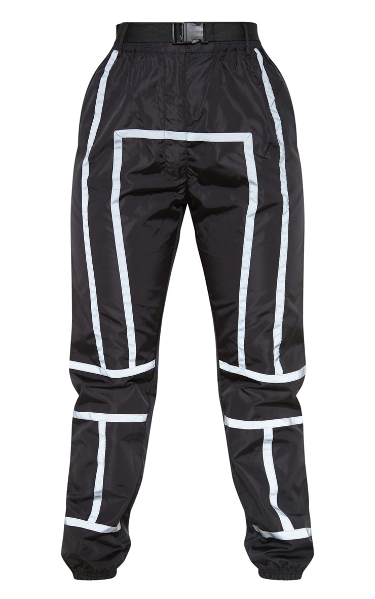 Black Shell Reflective Tape Belt Detail Jogger 3
