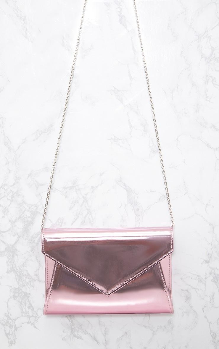 Pink Metallic Chain Cross Body Bag 4