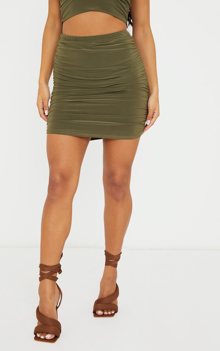 Olive Green Slinky Ruched Side Mini Skirt 2