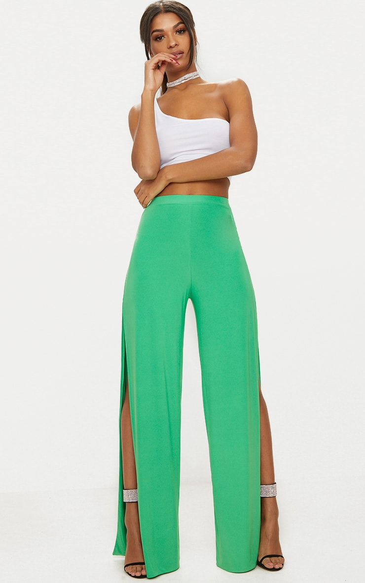 Bright Green Side Split Slinky Trousers 1