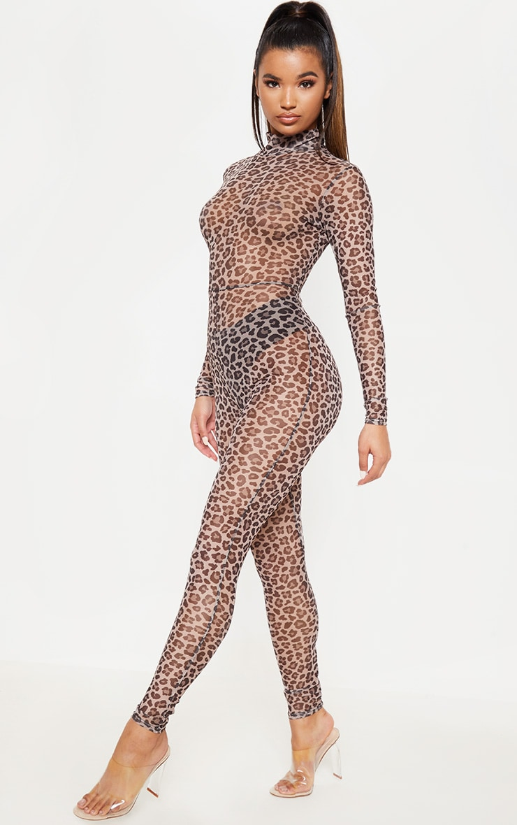 Brown Leopard Print Mesh Long Sleeve Jumpsuit 1