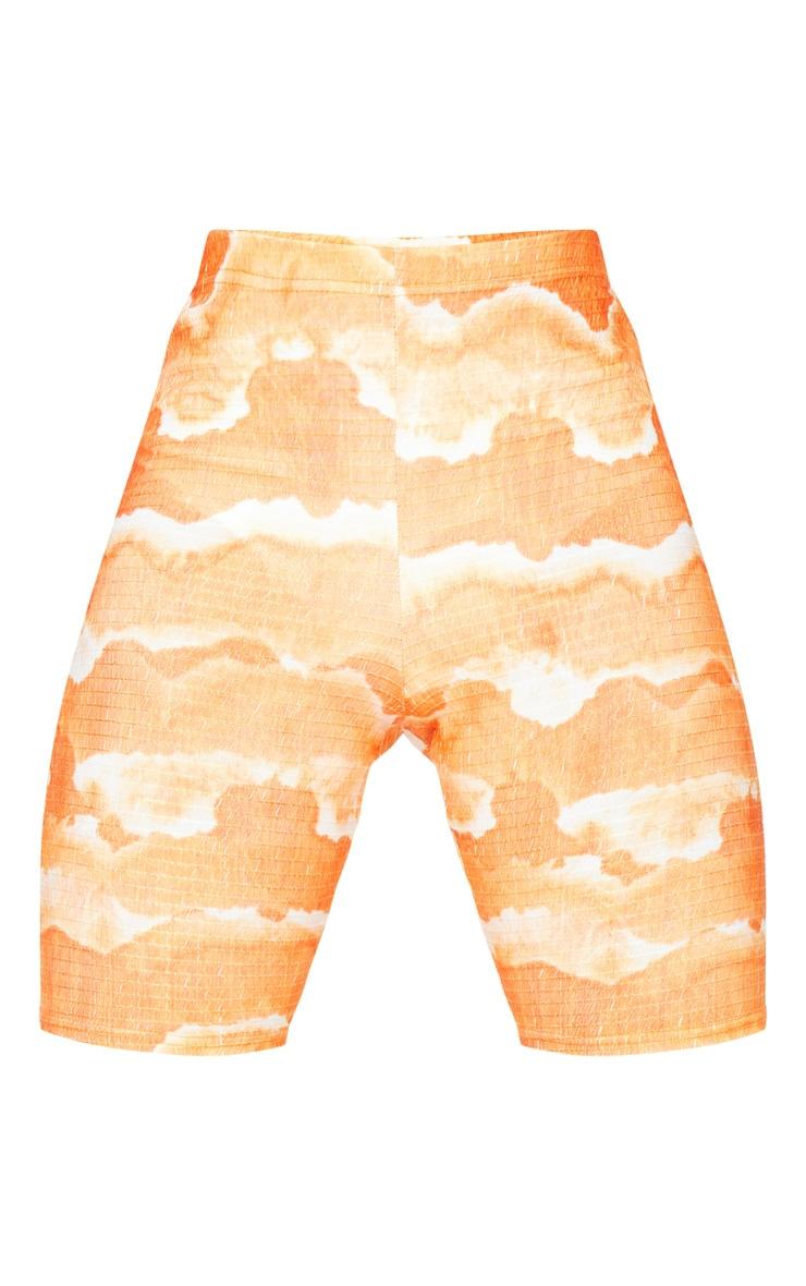 Tall Orange Tie Dye Cycle Crinkle Shorts 6