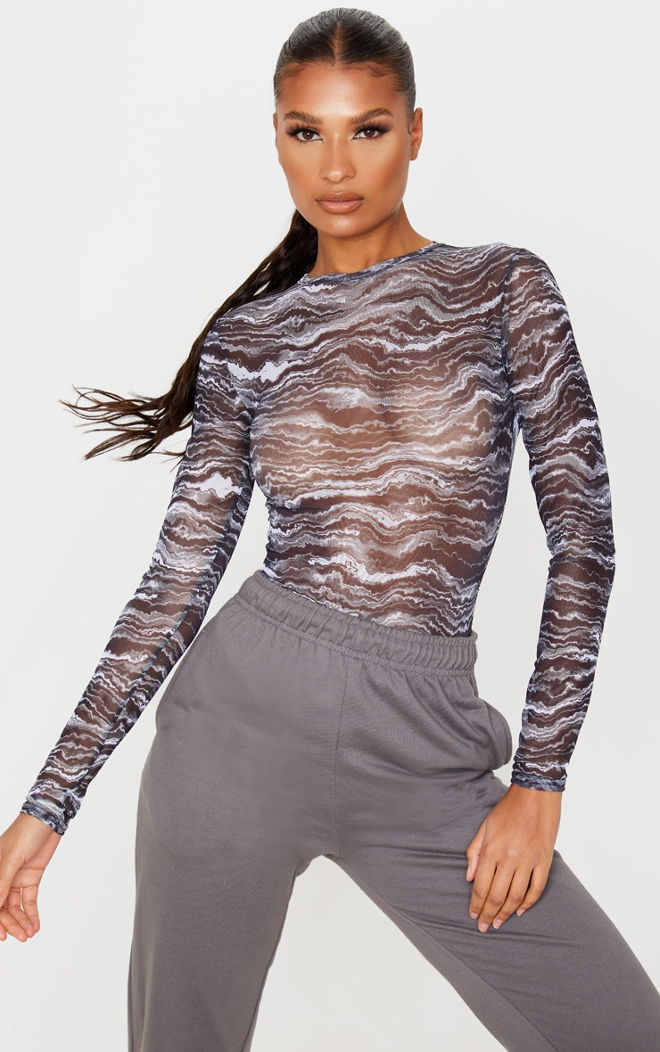 Black Waves Printed Mesh Crew Neck Long Sleeve Bodysuit 1